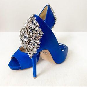 Badgley Mischka Kiara Embellished Peep Toe Heels